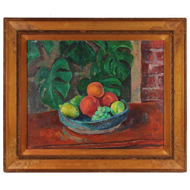 Modern Still Life With Fruit, Oil on Canvas, 20th Century For Sale - Image 3 of 3