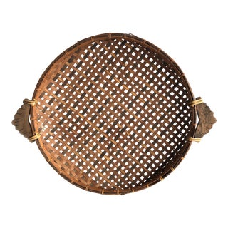 1970s Round Woven Rattan Basket With Wood Handles For Sale
