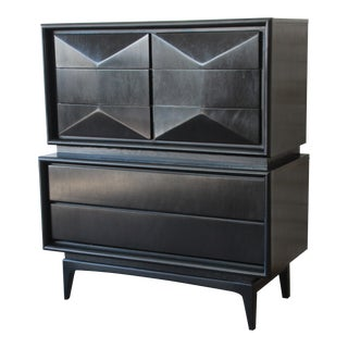 Ebonized Diamond Front Highboy Dresser by United - 2 Available For Sale