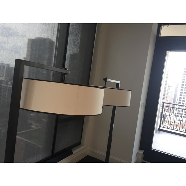 2010s Contemporary Metal Silk Shade Floor Lamp 2 Available For Sale - Image 5 of 11