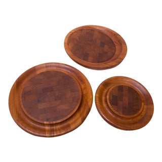 Set of Three Staved Teak Cutting Boards / Trays by Jens Quistgaard for Dansk For Sale