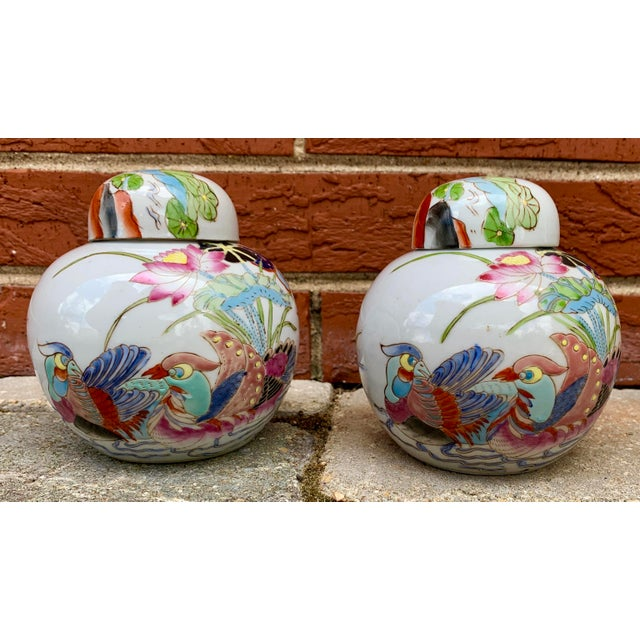 Vintage Chinoiserie Lidded Jars - a Pair For Sale - Image 11 of 11