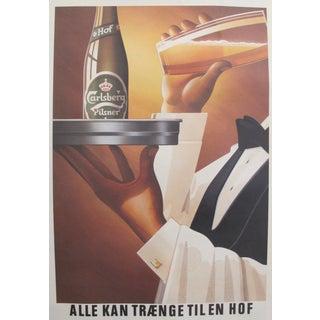 Original 1980's Danish Design Poster, Waiter's Drink of Choice