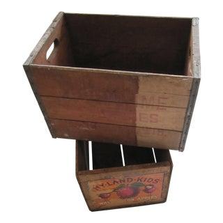 Vintage Wood Fruit & Milk Crates- 2 Pieces