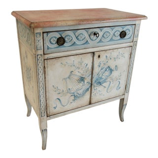 1950s Swedish Gustavian-Style Painted 2-Door Cabinet For Sale