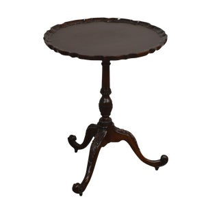Smith & Watson Carved Mahogany Chippendale Piecrust Side Table For Sale