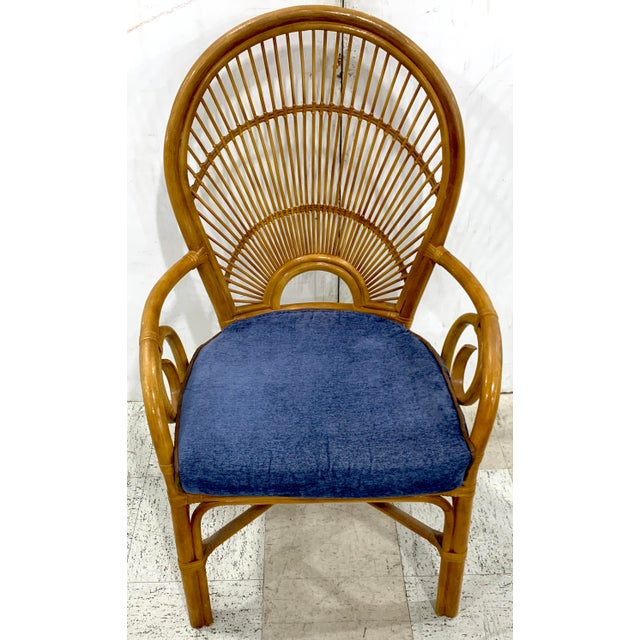 Mid-Century Modern 1970s Bamboo & Rattan Back 'Sunrise' Armchairs - a Pair For Sale - Image 3 of 11