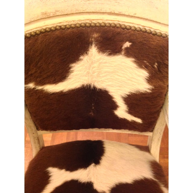 Antique Cowhide Chair with Nailhead Accents - Image 3 of 6