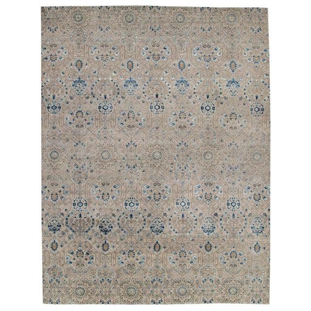 Pasargad DC Modern Erased Design Silk &Wool Rug - 9′ × 12′ For Sale