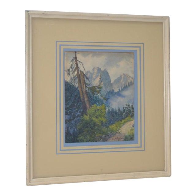 Sierra Mountain Landscape Watercolor by W.F. Jackson c.1910 For Sale