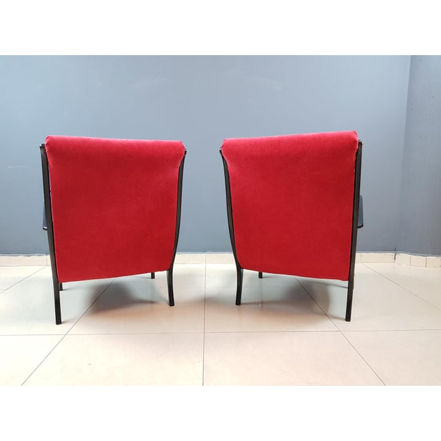 Italian Mid-Century Modern Lounge Armchairs by Ezio Longhi, 1950s Reupholstered - a Pair For Sale - Image 12 of 13
