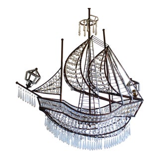 Crystal and Bronze Ship Chandelier After French Antique