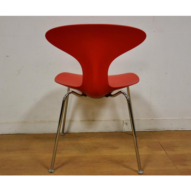 Red Bernhardt Modern Red Chrome Desk Chair For Sale - Image 8 of 9