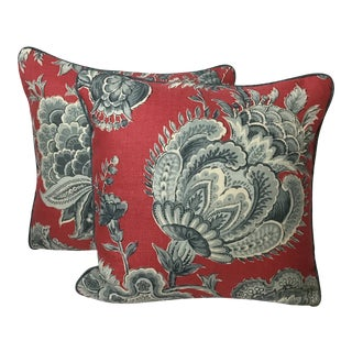 "Chinoiserie Brunschwig and Fils Linen Printed Pillows - 20""x20"" For Sale"