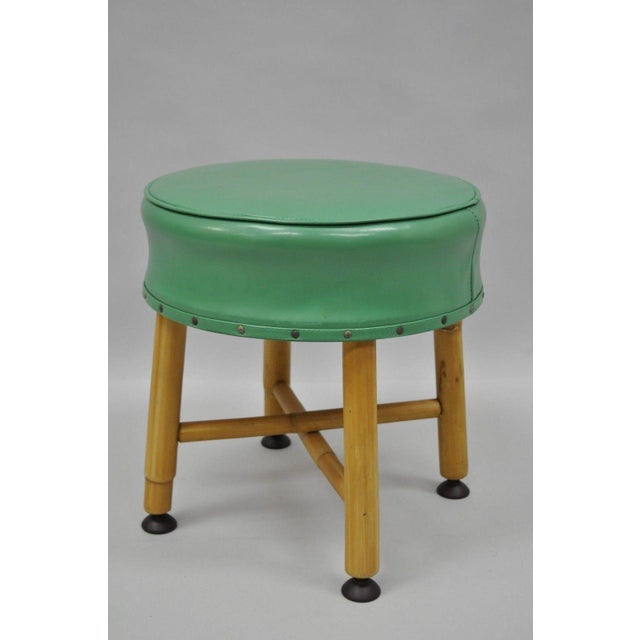 Green Vintage Green Vinyl Bamboo Wood Stool For Sale - Image 8 of 11