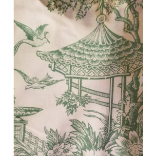 1980s Schumacher McMillan Collection Green and White Toile Fabric For Sale