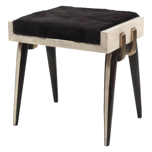 Pianist Stool in Cream Shagreen, Palm Wood & Bronze-Patina Brass by R&Y Augousti For Sale