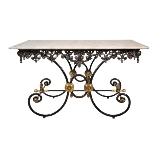 French Marble Top Bakers Table For Sale