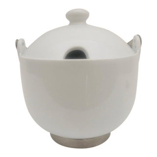 1980s Vintage Stainless Steel Carry Handle and White China Soup Tureen For Sale
