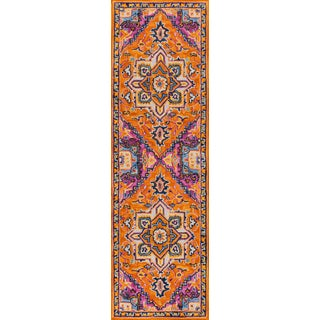 "Ibiza Orange Hand Tufted Area Rug 2'3"" X 7'10"" Runner For Sale"