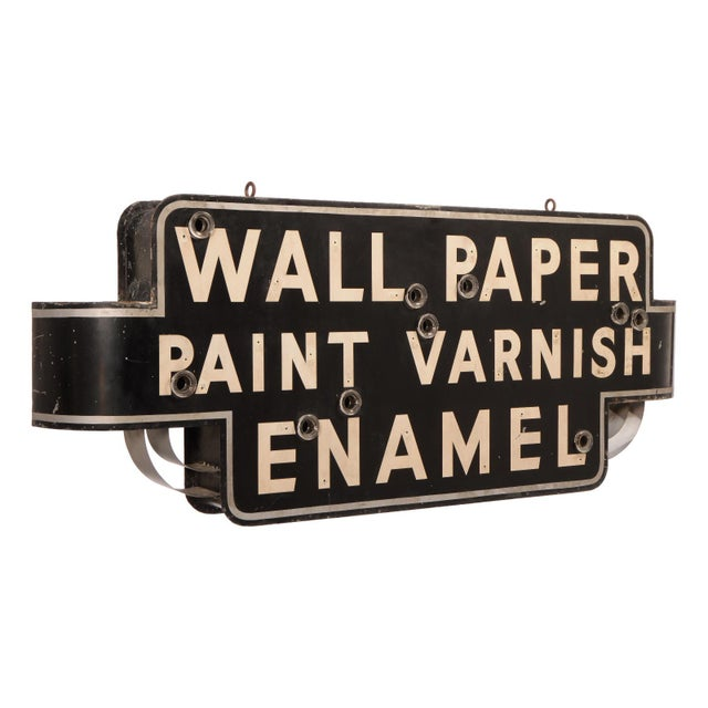 Very early Art Deco era neon sign, most likely from a mercantile or hardware store. Offering wall paper, paint, varnish...
