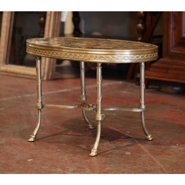 Baroque 19th Century French Louis XVI Gilt Bronze Oval Low Table With Marble Top For Sale - Image 3 of 7