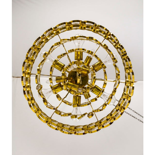 Circular Gilt Brass & Optical Lens Crystal Multi Tier Chandelier by Palwa For Sale - Image 9 of 13