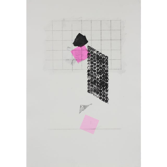 Abstract Minimal Abstract Monotype With Pink, Late 20th Century For Sale - Image 3 of 3