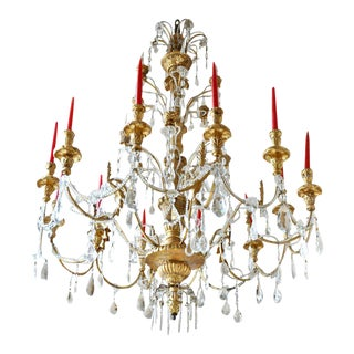 19th Century Large Italian Neoclassical Gilt Chandelier For Sale