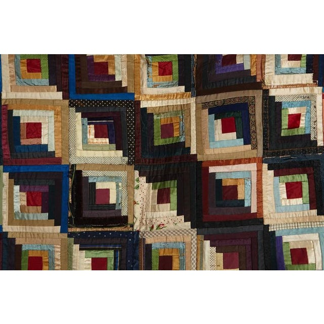 Late 19th Century Antique Log Cabin Barn Raising Pieced Silk Quilt For Sale - Image 5 of 8
