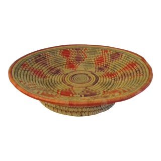 Vintage African Woven Footed Basket For Sale