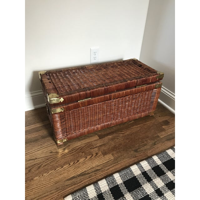 Gold Vintage Brass and Wicker Trunk For Sale - Image 8 of 10