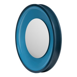 Round Floating Mirror in Teal / Horizon Blue - Jeffrey Bilhuber for The Lacquer Company For Sale
