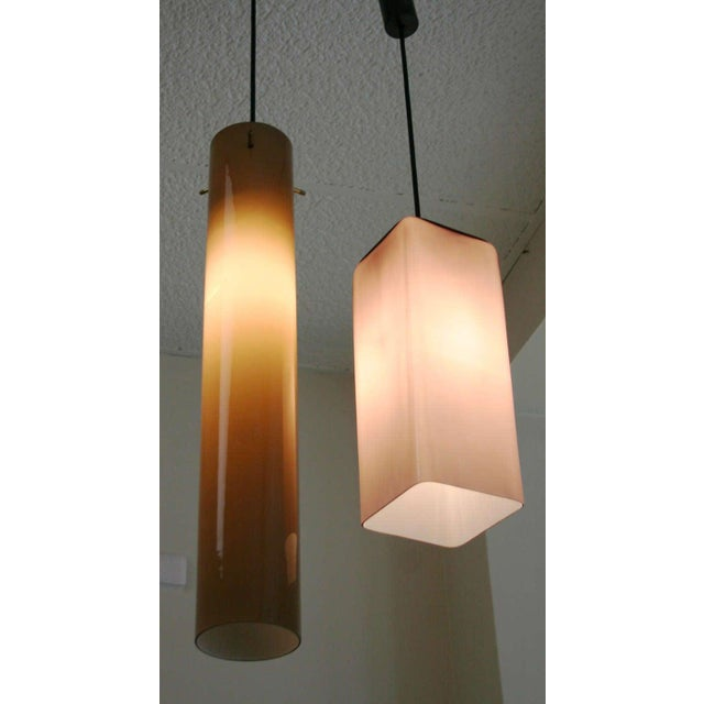 Brown Italian Cased Glass Pendants For Sale - Image 8 of 9