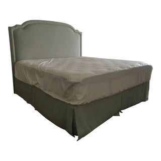 King Size Modern Platform Bed Upholstered in Light Blue Linen For Sale