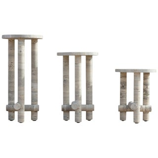 Ensemble of Travertine Side Tables by Clément Brazille For Sale