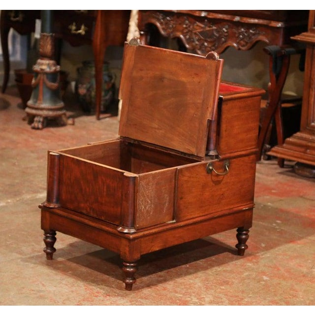 English 19th Century English Mahogany and Red Leather Library Step Ladder With Storage For Sale - Image 3 of 9