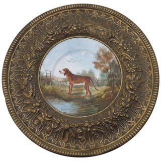 19th Century French Faience & Brass Framed Hunting Dog Wall Plaque For Sale