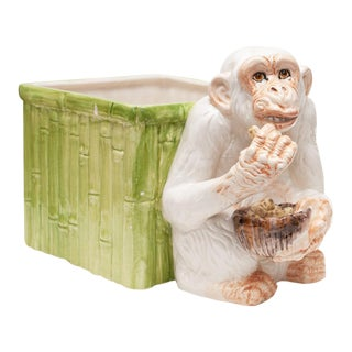 1970s Italian Majolica Monkey With a Bamboo Basket Ceramic Planter For Sale
