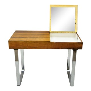 Echtes Kristall Spiegelglas Rosewood Mid Century Danish Mod Chrome Vanity Table For Sale