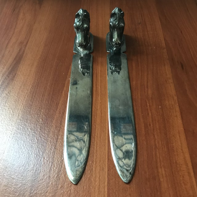 Vintage Reed & Barton Silverplate Horse Head Letter Openers - a Pair For Sale In Saint Louis - Image 6 of 9