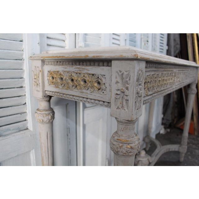 20th Century Vintage French Console With Mable Top For Sale In Atlanta - Image 6 of 9