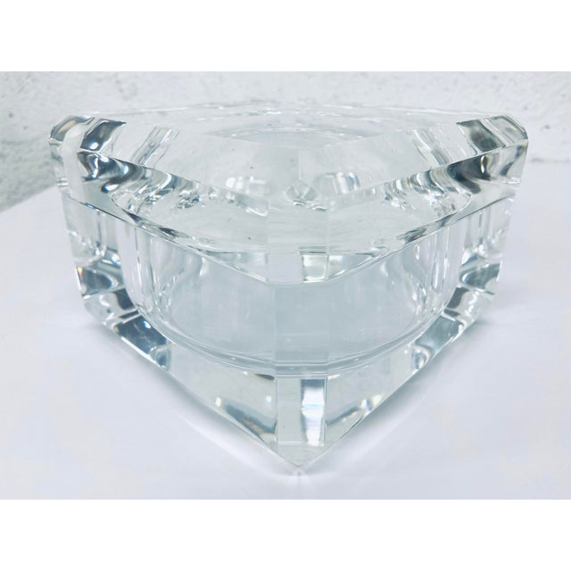 Original Alessandro Albrizzi faceted lucite ice bucket / storage container circa 1970s. The lid swivels on a pin encased...