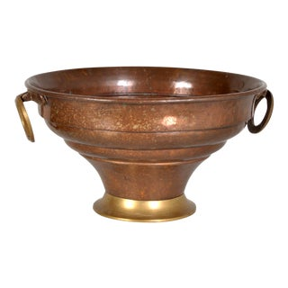 1950s Neoclassical Form Copper Planter With Brass Handles For Sale