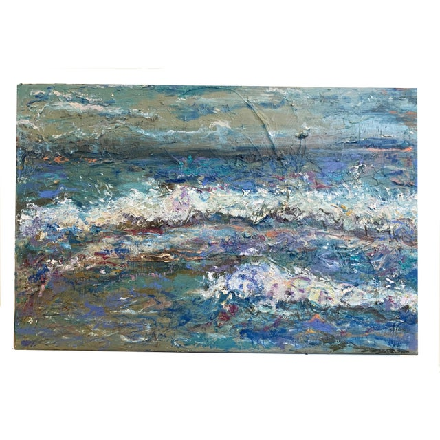 """2020s """"Sea Me"""" Contemporary Abstract Seascape Oil Painting by Nancy T. Van Ness For Sale - Image 5 of 5"""