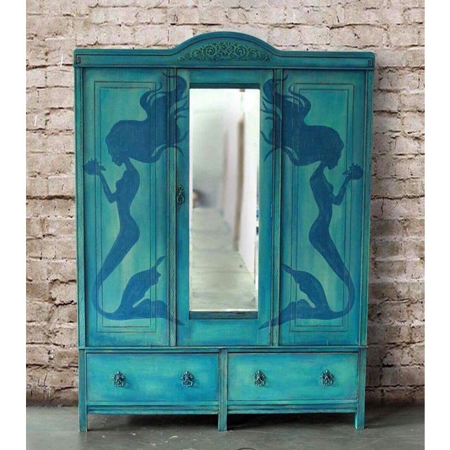 1920's Hand Painted Mermaid Armoire - Image 5 of 5