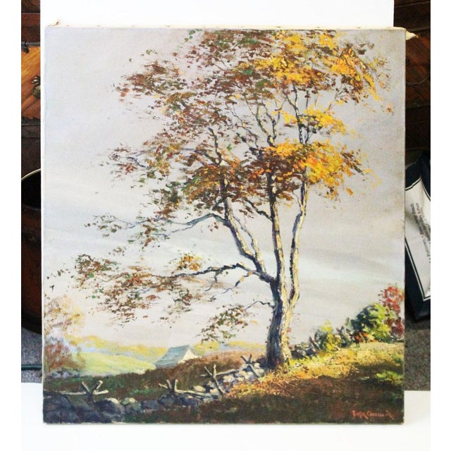 "Canvas Caddell Fall Tree ""Golden Shaft"" Oil Painting For Sale - Image 7 of 7"