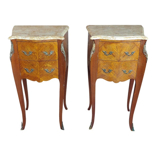 Antique French Marquetry Petit Commodes W/Marble Top - a Pair For Sale