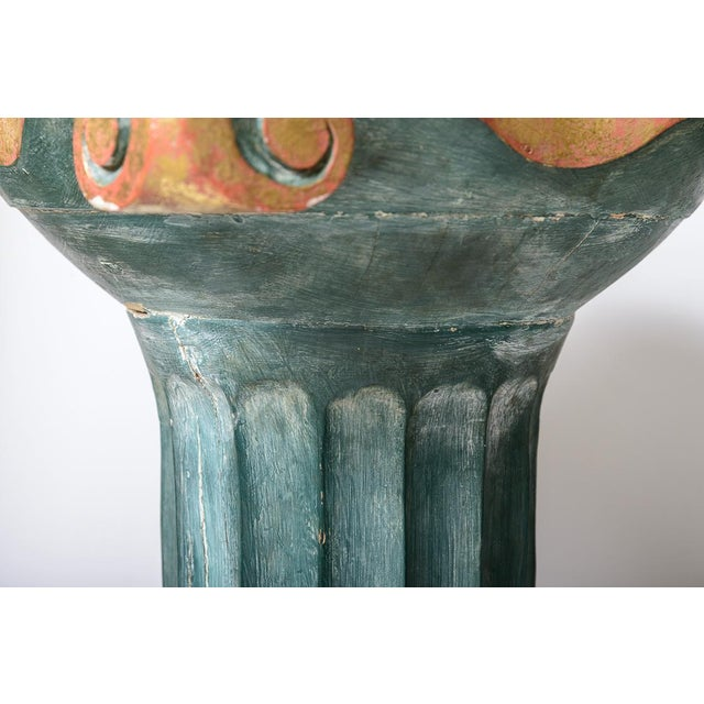 Gold Polychromed Wood Roman Fluted Columns Pillars Pedestal Stools, A-Pair For Sale - Image 7 of 12