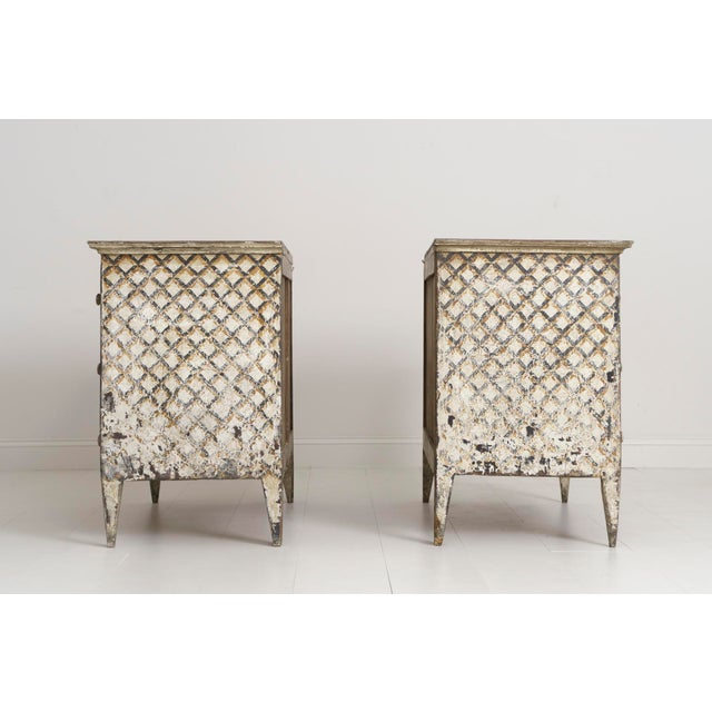 Pair of Italian Neoclassical Style Crosshatch Painted Commodes For Sale - Image 10 of 12